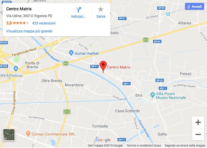 Mappa Google per raggiungere il Centro Commerciale Matrix Shop